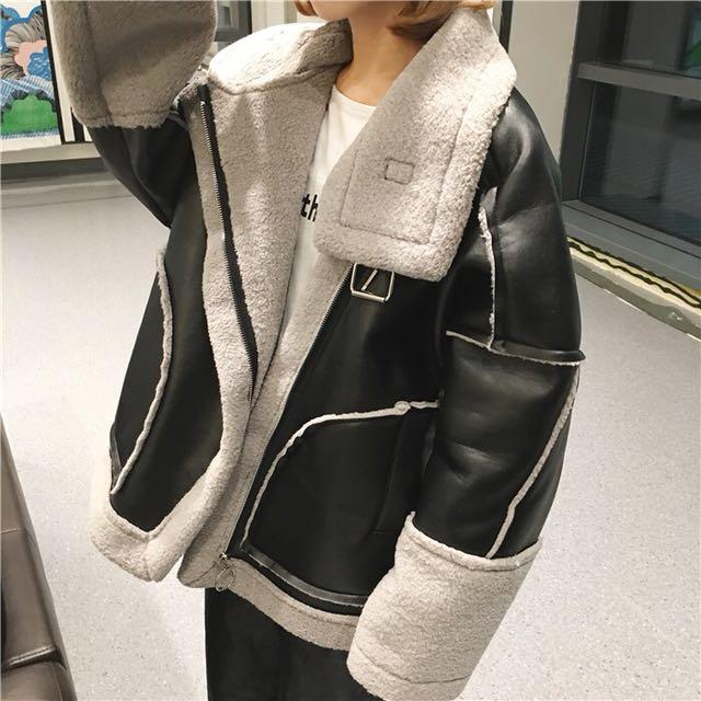 韓復古加厚保暖羊羔毛寬鬆機車皮衣外套