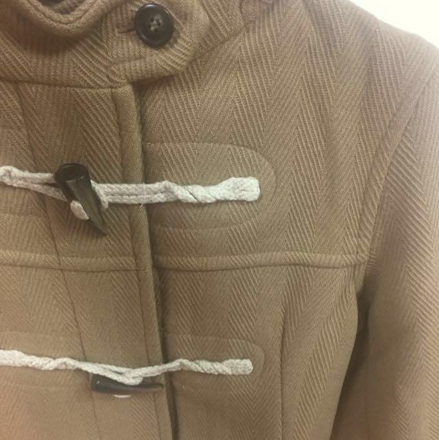 古著 90%羊毛人字紋牛角扣大衣 Uniqlo