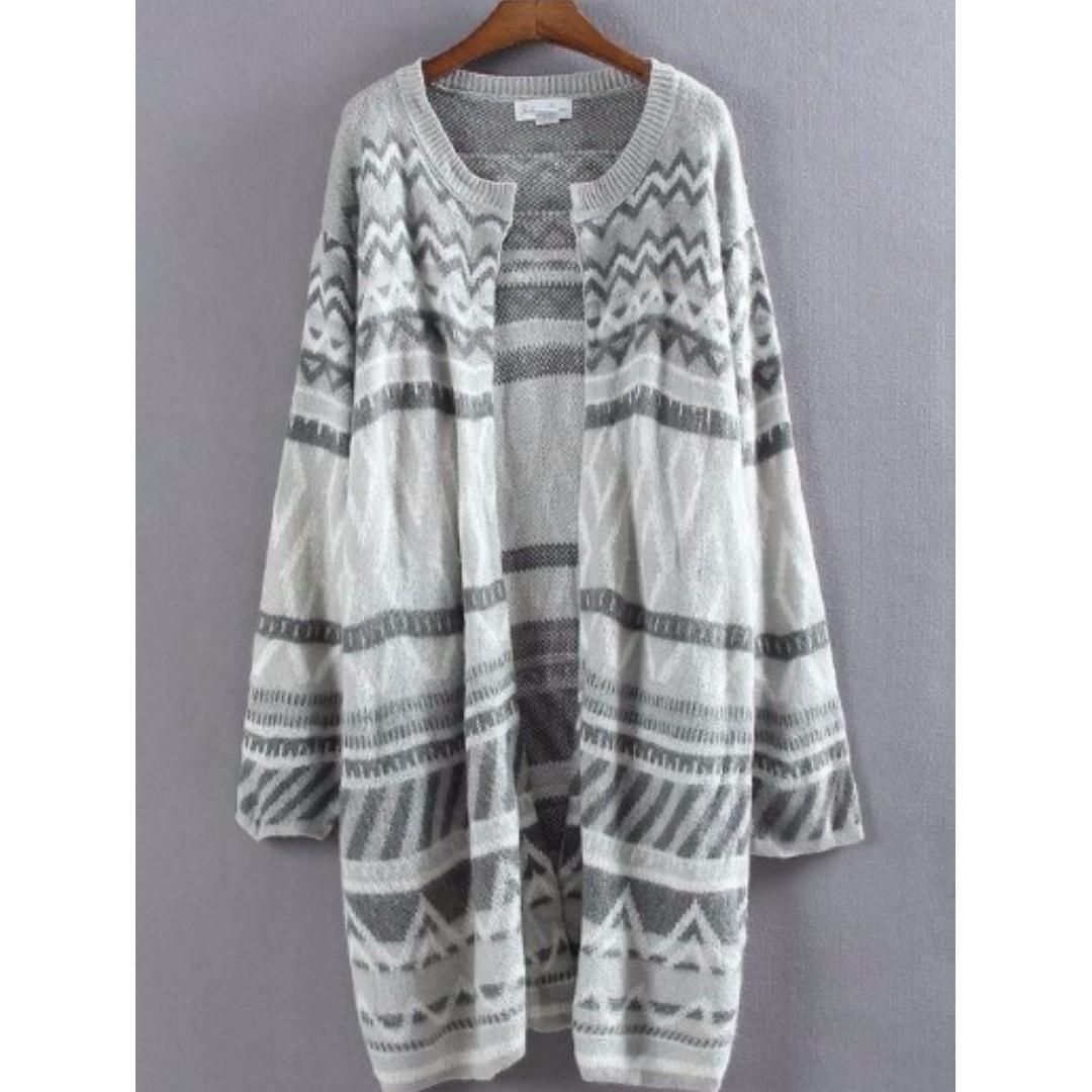 國外品牌 幾何圖騰混色長板細針織外套