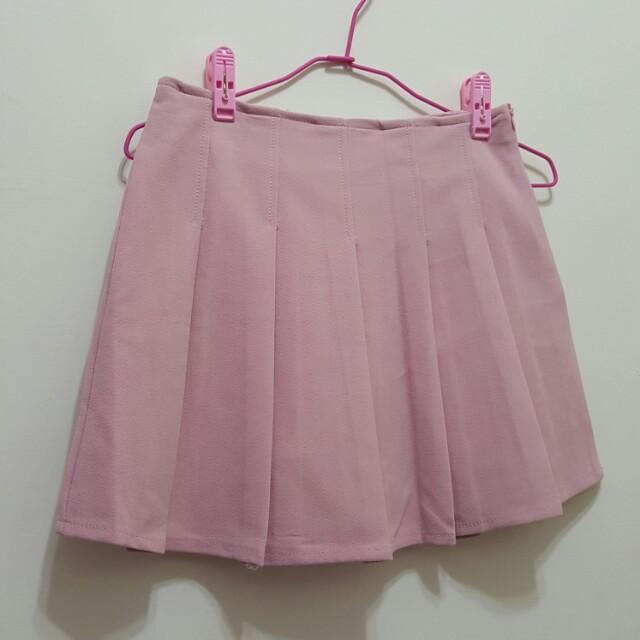 粉色百摺褲裙 小磨毛