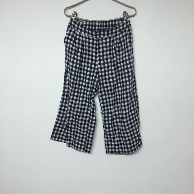 格子 棉寬褲