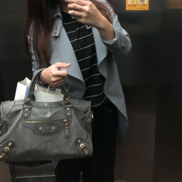 極新免運 / 正韓國淺灰藍質感厚磅風衣