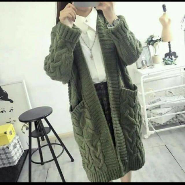長版罩衫 針織厚外套 墨綠#我的女裝可超取