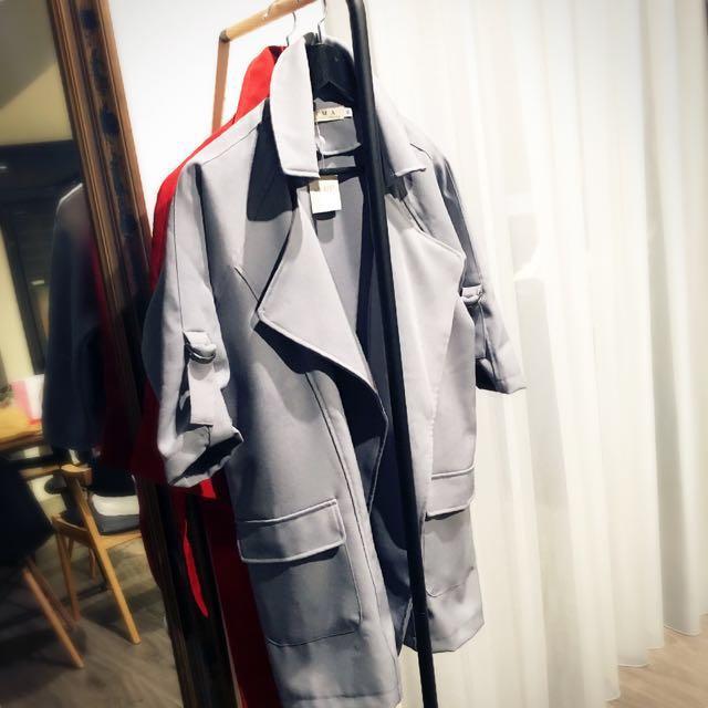 全新高磅數韓版大翻領七分袖顯瘦風衣外套 | 磚紅色、灰色M號