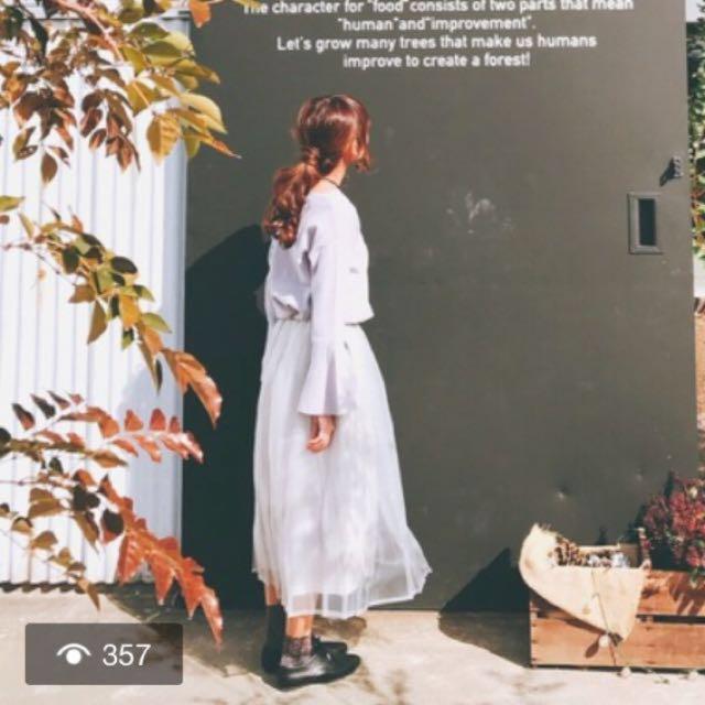降 日本KBF Urban Research 灰色紗裙 長裙