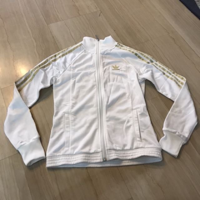 c8776c127003 Adidas White Track Jacket With Gold Stripes And Bejeweled Logo At ...