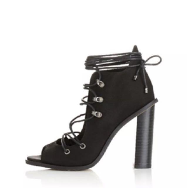 ALIAS MAE Adona Lace Up High Heel in Black Nubuck sz 38 NIB