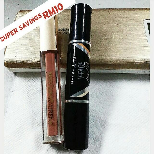 💯Authentic brand Maybelline V-Face duo stick + Matte Lip gloss YSL