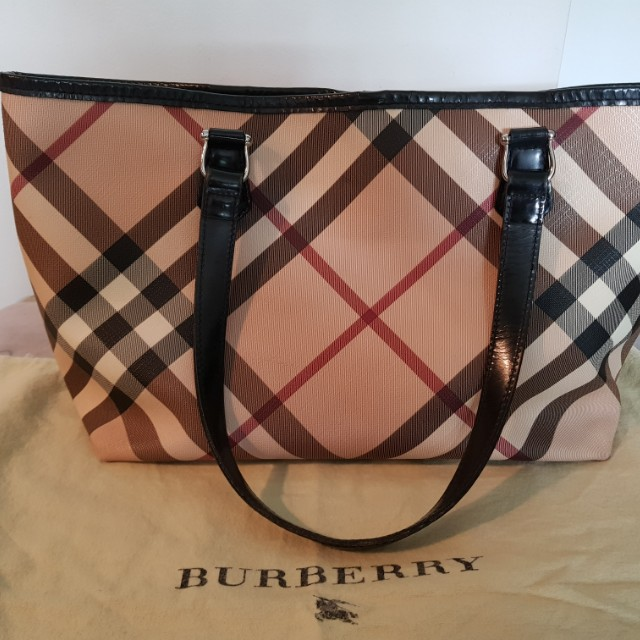 7faae3d20a1f Authentic Burberry Nova Check coated canvas small Nickie tote handbag.  Includes dust bag.