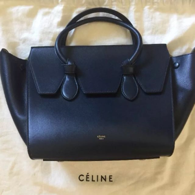 Authentic Celine Tie Tote Navy Blue Leather Bag