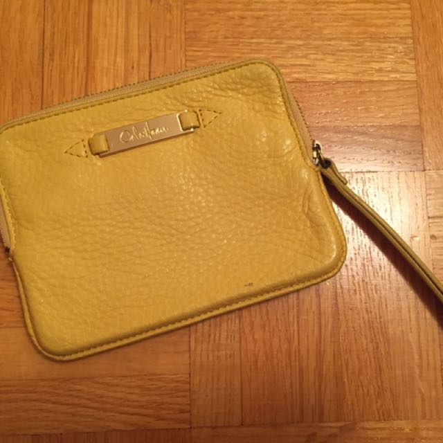 Authentic Cole Haan yellow leather wristlet pouch