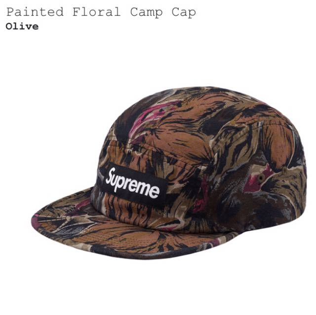 Authentic Supreme Painted Floral Camp Cap Olive 3fd2b88af30