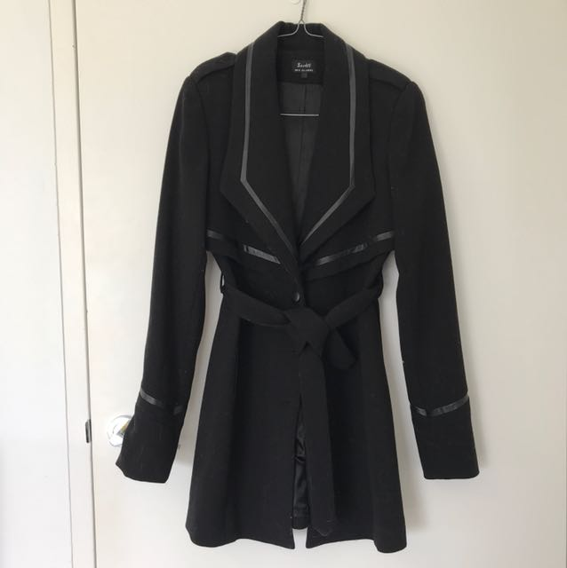 Bardot Winter Coat with PU Leather Trim