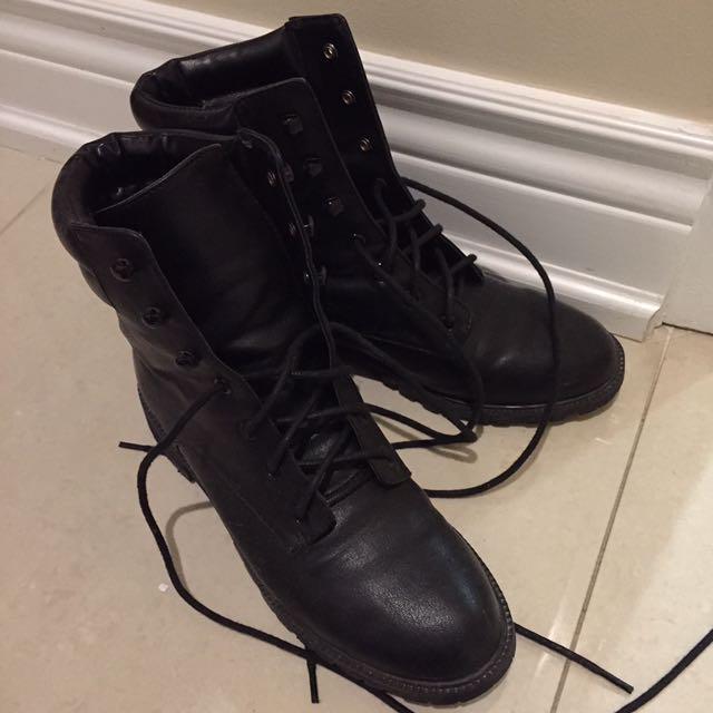 Black lace boots