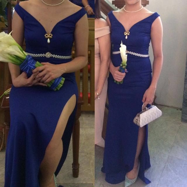 Blue 2 Piece LONG Formal dress with Slit