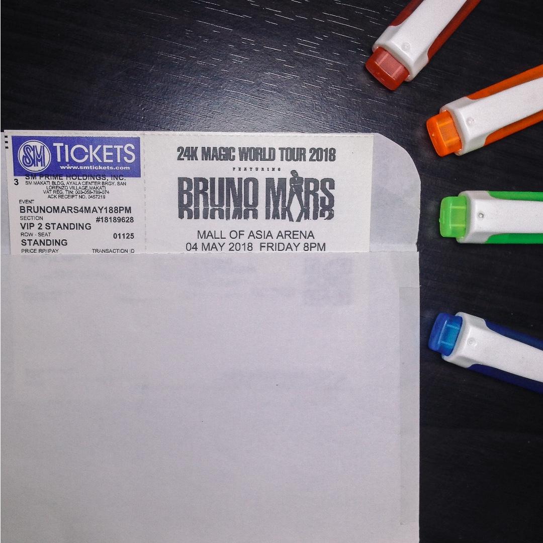 Bruno Mars 24K Magic Tour Manila VIP2 Ticket