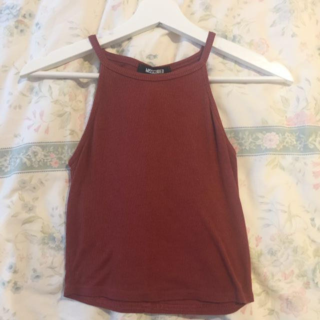 Burgundy ribbed Crop missguided size 8