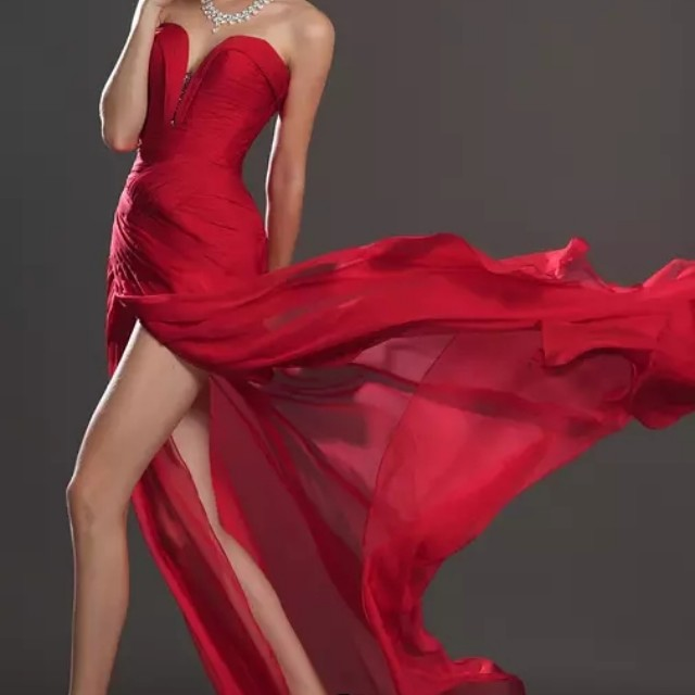 Bustier Red Evening Gown