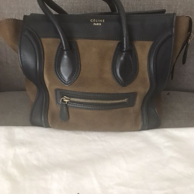 CELINE Olive Green Black Leather Suede Micro Luggage Tote Bag ... e3df06e3e371f