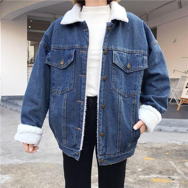 韓國chic復古百搭男友風內刷毛羊羔毛牛仔外套/2色
