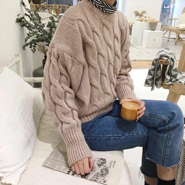 韓國chic甜美圓領蝙蝠袖簡約保暖針織毛衣/2色