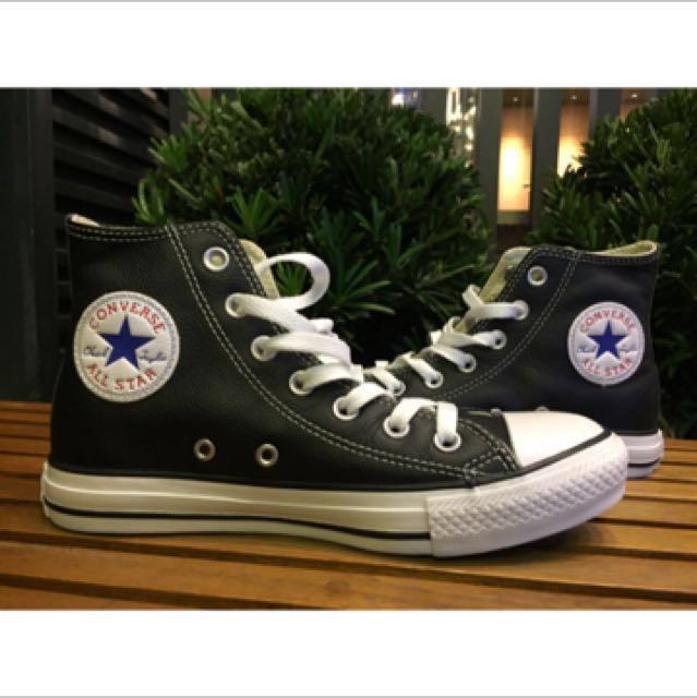 converse黑色高筒皮質鞋