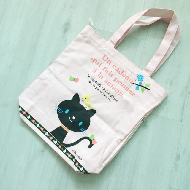 3a31cec7fb Cute Japan Brand Black Cat Canvas Tote Bag, Women's Fashion, Bags ...