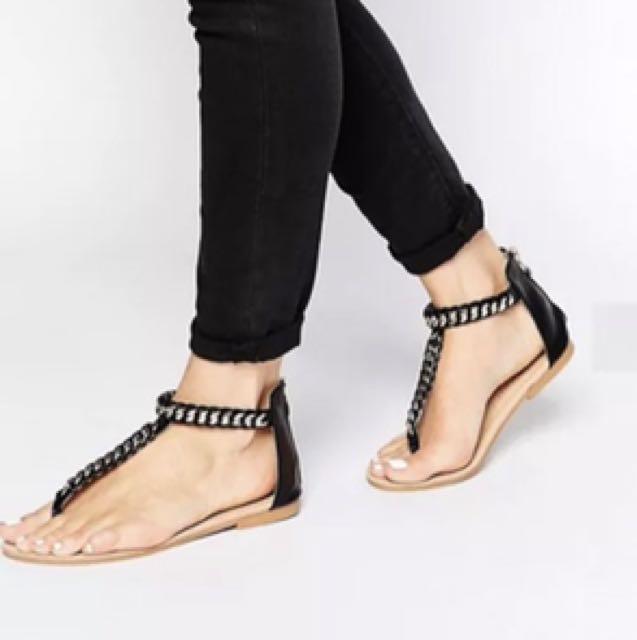 DAISY STREET Boho Luxe Woven Gold Chain Sandals in Black sz 38