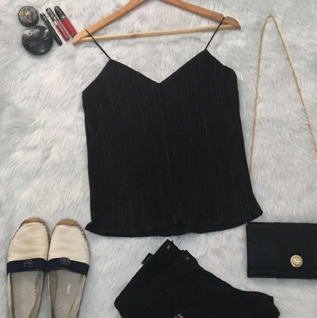 Electric Pleats Black Cami top