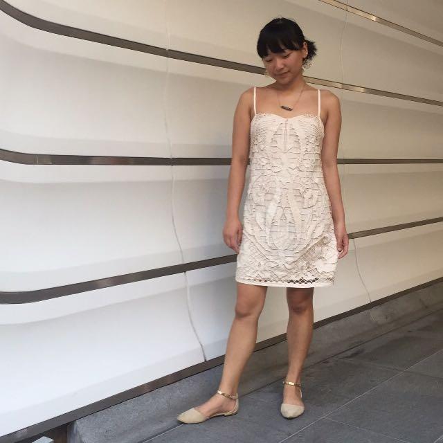 Exquisite Cream Lace Front Dress