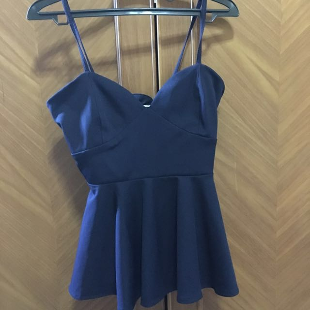 Fabrica Navy Blue Peplum Top