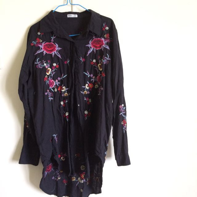 Floral Embroidery Button Up Shirt