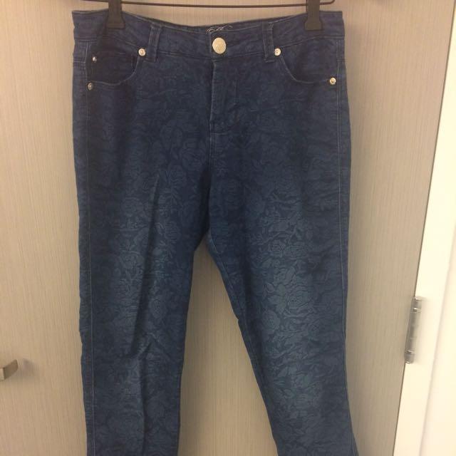 Floral Pattern Blue Jeans