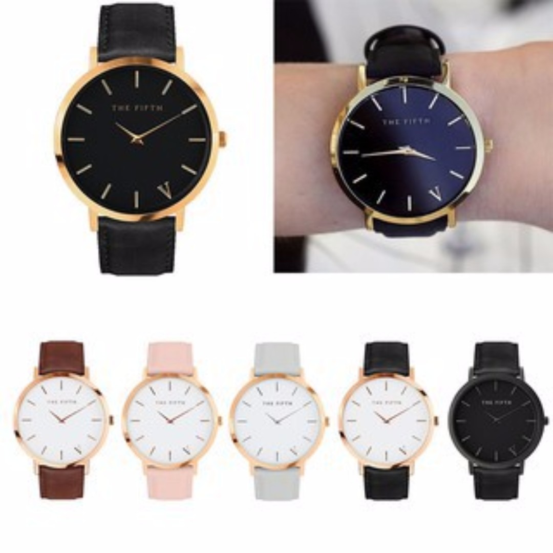 [FREE POS]The Fifth Watch Leather Simple Women Quartz Analog Band