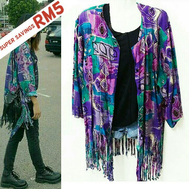 Fringe tassle cardigan/blouse RM7 (U.P. RM12)