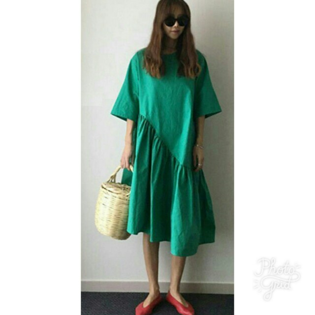 Green Baby Doll Frilled Dress