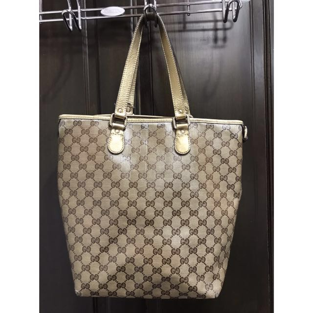 Gucci金色購物袋包-義大利製-歐洲帶回