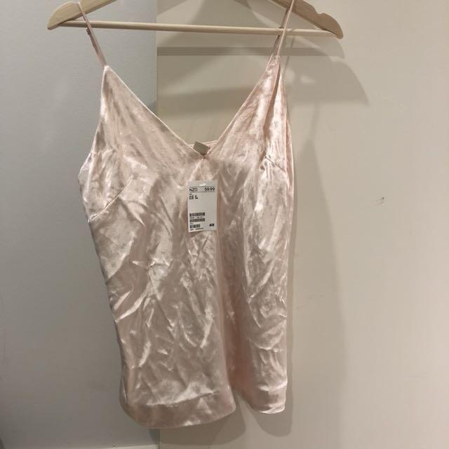 H&M pink velvet cami