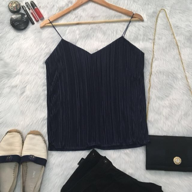 HQ NAVY BLUE PLEATED CAMI TOP