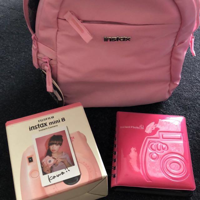 Instax mini 8 pink camera + extras