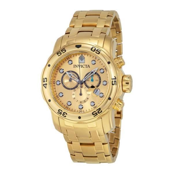 """Invicta Mens 0074 """"Pro Diver"""" Mens 18k Gold-Plated Watch"""
