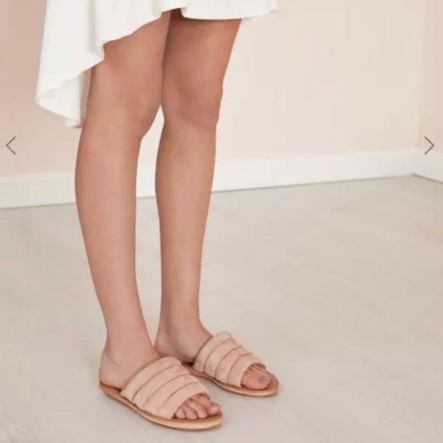 JAGGER Lower Cushioned Slip On Slide Flats in Nude sz 38