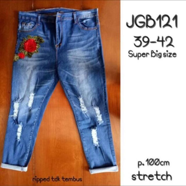 Jeans jumbo ripped flower