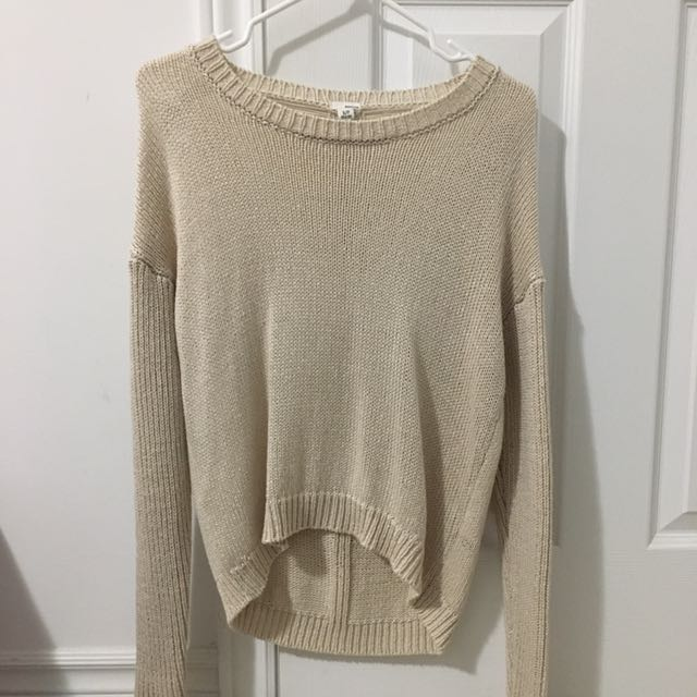 knit beige distressed sweater