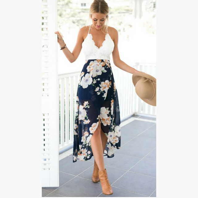 Lace Patchwork Floral Backless Summer Dress Maxi