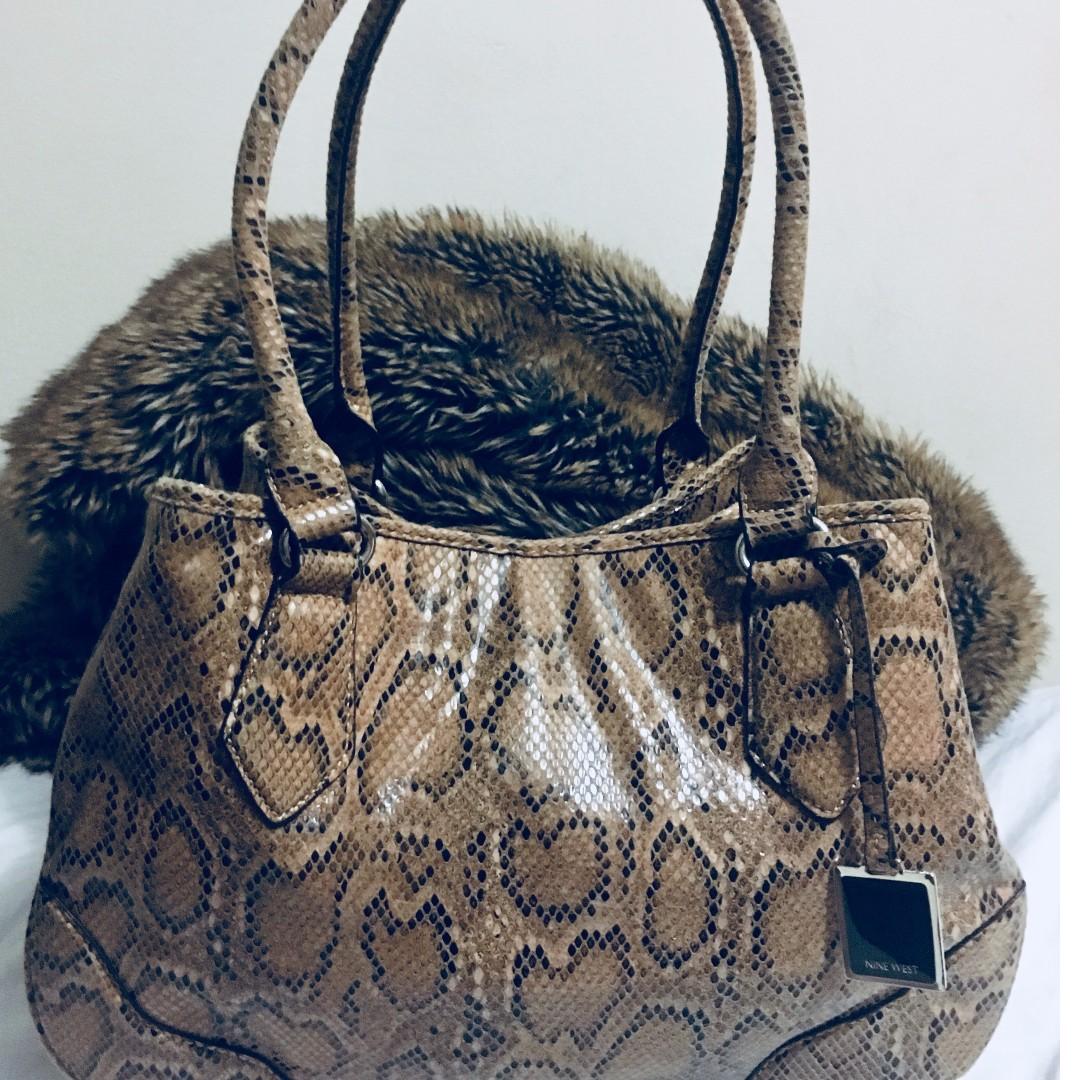 Large Nine West Python Purse Oversized Brown Satchel, Handbag