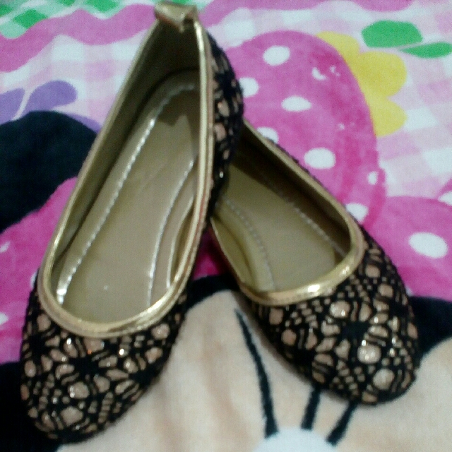 Marikina made Doll Shoes for Kids 3 and 3 1/2 years old ,blk. and gold combination