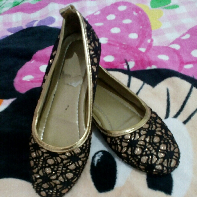 Marikina make Doll Shoes blk. and gold combination for 4and 4 1/2 years old kids