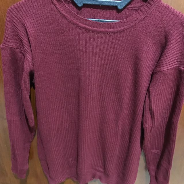Maroon and Caramel Sweater