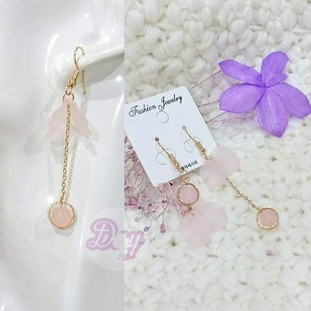 """[MerryCharms.com/Day 21] DY2105 """"Pink"""" Earrings"""